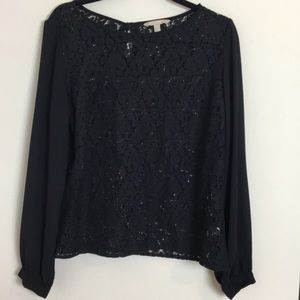 Black lace blouse banana republic size medium